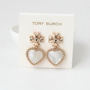 NEW TORY BURCH Roxanne MOP Heart Drop Earrings!